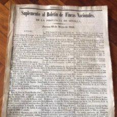 Manuscritos antiguos: 1848 DESAMORTIZACIÓN PROVINCIA DE SEVILLA. ANUNCIO BIENES A SUBASTAR FINCAS NACIONALES. LORA DEL RIO. Lote 206461525