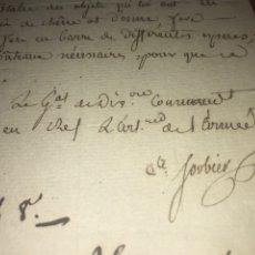 Manuscritos antiguos: C. 1805. CARTA CONDE IMPERIO. SORBIER INFORMA MOVIMIENTOS ARMADA ITALIA COMPAÑÍAS CABALLO.. Lote 206516837