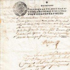 Manoscritti antichi: 1657 ALFARO (LA RIOJA) SELLO FISCAL 4º DE 10 MRS DOCUMENTO MANUSCRITO TIMBRADO PAPEL SELLADO. Lote 206574958
