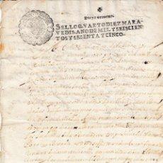 Manoscritti antichi: 1665 ALFARO (LA RIOJA) SELLO FISCAL 4º DE 10 MRS DOCUMENTO MANUSCRITO TIMBRADO PAPEL SELLADO. Lote 206575242
