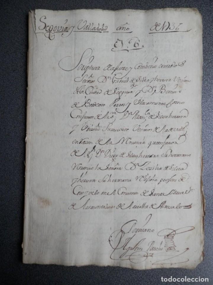 Manuscritos antiguos: MANUSCRITO AÑO 1736 FISCAL 2º RARO LUJO SEGOVIA ESCRITURA DE CONVENIO 53 PÁGS - Foto 3 - 206762687