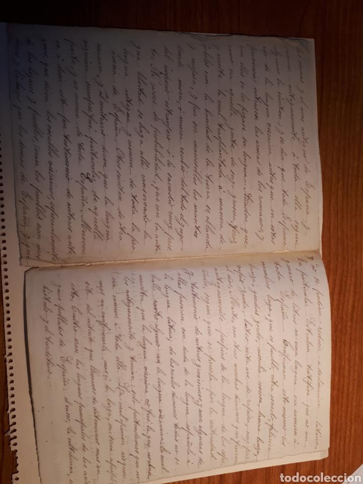 Manuscritos antiguos: MANUSCRITO. PRUEBA DE CALIGRAFÍA Y TEXTO INTERIOR HABLANDO DE LA LEGUA CASTELLANA. - Foto 2 - 207356567