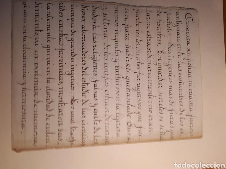 Manuscritos antiguos: MANUSCRITO. PRUEBA DE CALIGRAFÍA Y TEXTO INTERIOR HABLANDO DE LA LEGUA CASTELLANA. - Foto 3 - 207356567