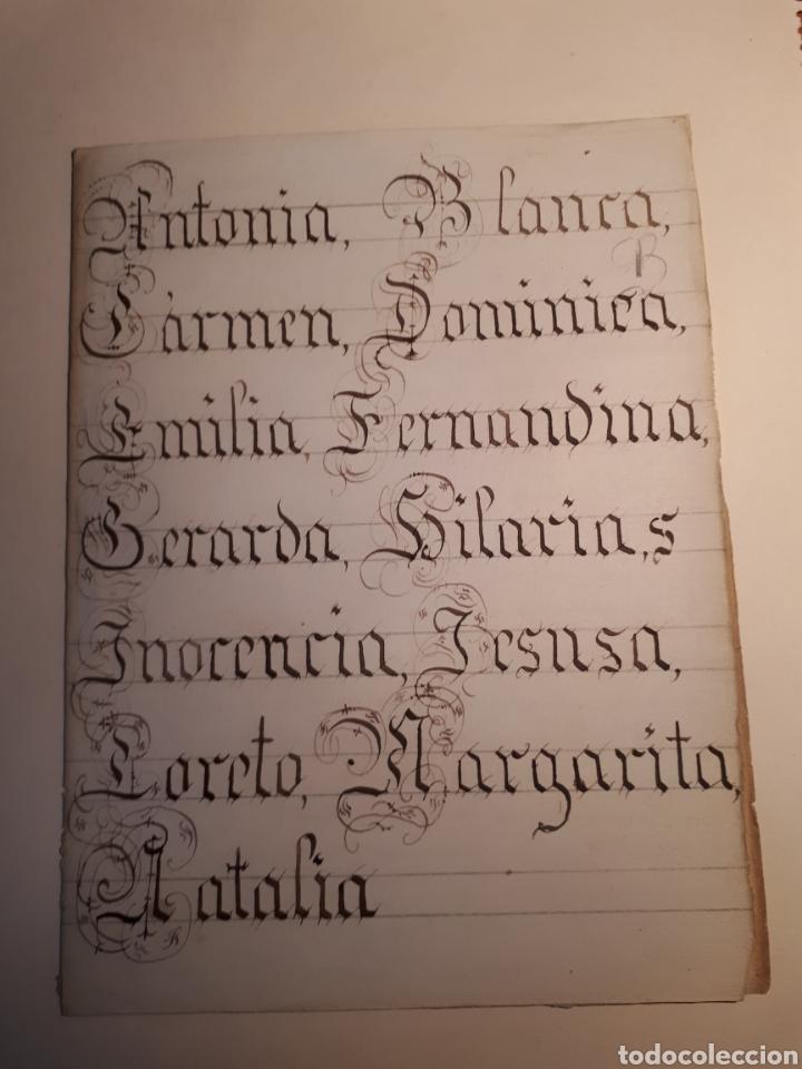 MANUSCRITO. PRUEBA DE CALIGRAFÍA Y TEXTO INTERIOR HABLANDO DE LA LEGUA CASTELLANA. (Coleccionismo - Documentos - Manuscritos)