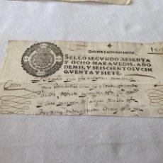 Manuscrits anciens: FELIPE IV 1657 SELLO SEGUNDO SESENTA Y OCHO MARAVEDIS. Lote 233091890