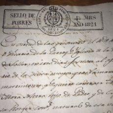 Manuscritos antiguos: VILLA DE SOLLER, BALEARES. SELLO DE POBRES DE 1821. OFERTORIO MISA MAYOR PROCLAMACIÓN MATRIMONIO. Lote 207579973
