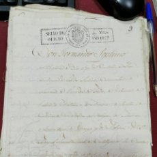 Manuscritos antiguos: 1825, MANUSCRITO CON SELLO DE PLACA DE FERNANDO VII, MAGNIFICO. Lote 207652228