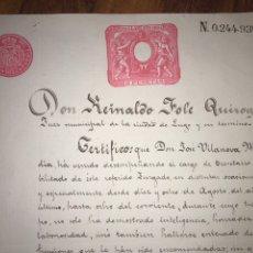 Manuscritos antiguos: SELLO 11. 1894. CERTIFICADO JUEZ DE LUGO AL SECRETARIO. FIRMADO Y SELLADO.. Lote 207907393