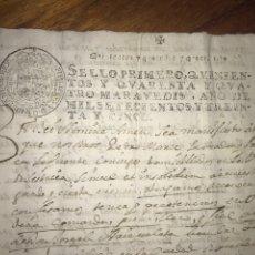 Manuscritos antiguos: 1735 SELLO PRIMERO. SESTRICA, ZARAGOZA. Lote 207905977