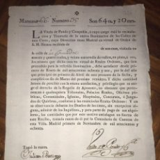 Manuscritos antiguos: RECAUDACIÓN PARA LA ILUMINACIÓN DE LAS CALLES DE MADRID. CALLE DE LA COMADRE. 1780. VIUDA PANDO. Lote 207911932