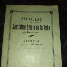 Manuscritos antiguos: ÚNICA LIBRETA ESCUELAS SANTÍSIMO CRISTO DE LA PEÑA GUADASUAR ALCALDE PÍO PELLICER MANUSCRITO CUENTAS. Lote 208112830