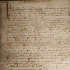 Manuscritos antiguos: PERGAMINO MANUSCRITO ENMARCADO - AÑO 1417. ANTIGONA, ESPOSA DE BERNARDO PINEDA. ST. BOI DE LLOBREGAT. Lote 208143232