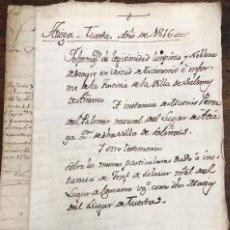 Manuscritos antiguos: MANUSCRITO LEGITIMIDAD, LIMPIEZA Y NOBLEZA DE SANGRE. SALINAS DE AÑANA, ALAVA. AÑO 1816. Lote 208379300