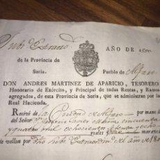 Manuscritos antiguos: SORIA. PUEBLO DE ALFARO. RECIBO PAGO DERECHOS SUBSIDIOS CIUDAD 1801. FIRMAS. Lote 208441483