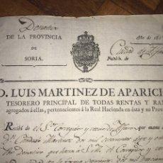Manuscritos antiguos: SORIA. PUEBLO DE ALFARO. RECIBO PAGO DONATIVOS CIUDAD 1815. FIRMAS. Lote 208441551