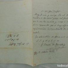 Manuscritos antigos: BARON DE TERRATEIG ESCRIBE A JOSÉ ESCOFET. CON FIRMA 1856. Lote 208663488