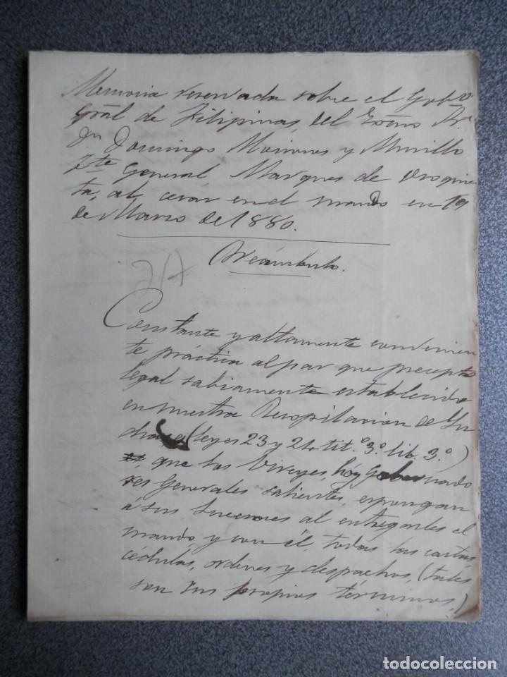 GUERRA FILIPINAS EXTENSO INFORME MANUSCRITO AÑO 1880 GOBERNADOR GENERAL D MORIONES -INÉDITO (Coleccionismo - Documentos - Manuscritos)