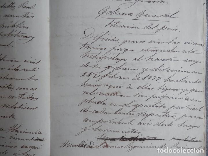 Manuscritos antiguos: GUERRA FILIPINAS EXTENSO INFORME MANUSCRITO AÑO 1880 GOBERNADOR GENERAL D MORIONES -INÉDITO - Foto 3 - 208875101