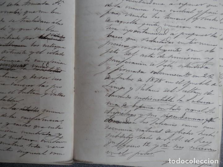 Manuscritos antiguos: GUERRA FILIPINAS EXTENSO INFORME MANUSCRITO AÑO 1880 GOBERNADOR GENERAL D MORIONES -INÉDITO - Foto 6 - 208875101