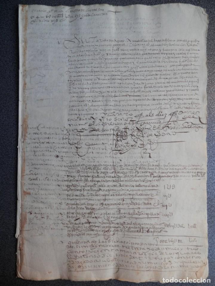 MANUSCRITO AÑO 1597 SAHAGÚN LEÓN CONVENTO SAN FRANCISCO CARTAS DE PAGO BONITA LETRA (Coleccionismo - Documentos - Manuscritos)
