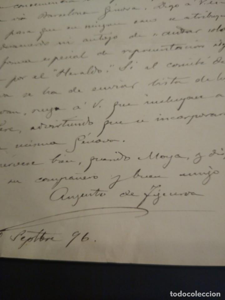 Manuscritos antiguos: Carta manuscrita con firma del periodista, militar y político nacido en Estepona Augusto Figueroa. - Foto 2 - 210084305