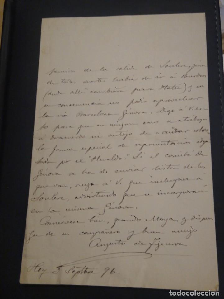 Manuscritos antiguos: Carta manuscrita con firma del periodista, militar y político nacido en Estepona Augusto Figueroa. - Foto 3 - 210084305
