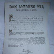 Manuscritos antiguos: ALFONSO XII 1884. NOMBRAMIENTO DE CAPITÁN DE INFANTERIA,. FIR YO EL REY.. Lote 210084530