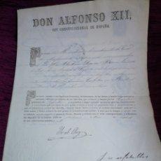 Manuscritos antiguos: ALFONSO XII. 1867. NOMBRAMIENTO DE CAPITAN. FIRMA YO EL REY.. Lote 210090720