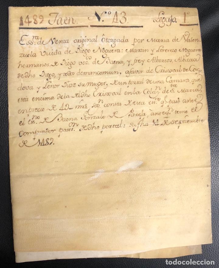 Manuscritos antiguos: ESCRITURA DE VENTA DE UNA TIERRA. JAEN, AÑO 1489 - Foto 4 - 210191373