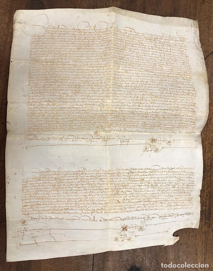 ESCRITURA DE VENTA DE UNA TIERRA. JAEN, AÑO 1489 (Coleccionismo - Documentos - Manuscritos)