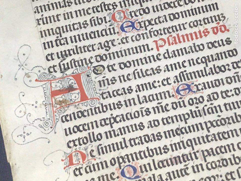 Manuscritos antiguos: HOJA VITELA, PRINCIPIOS SIGLO XV. PRECIOSA CALIGRAFíA, LETRAS EN COLORES, FILIGRANAS. A - Foto 5 - 210218075