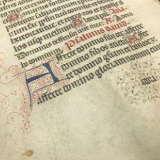 Manuscritos antiguos: HOJA VITELA, PRINCIPIOS SIGLO XV. PRECIOSA CALIGRAFÍA, LETRAS EN COLORES, FILIGRANAS. A. Lote 210218075