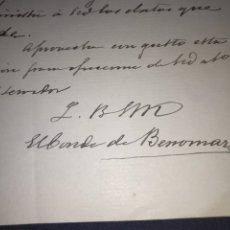 Manuscritos antiguos: CARTA Y FIRMA DE FRANCISCO MERRY Y COLOM, CONDE DE BENOMAR. BERLÍN 1884. SEVILLA.. Lote 210338223
