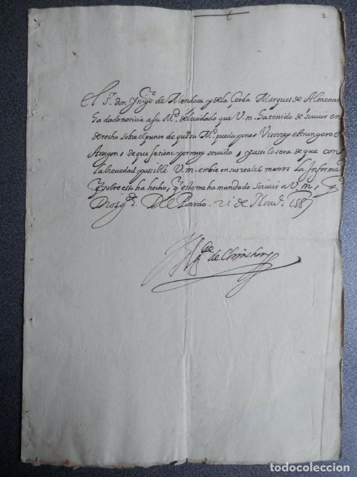 IMPORTANTE CARTA AL REY FELIPE II AÑO 1588 NOMBRAMIENTO VIRREY DE ARAGÓN A UN EXTRANJERO - OPOSICIÓN (Coleccionismo - Documentos - Manuscritos)