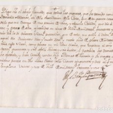 Manuscritos antiguos: RECIBO DE UNA PORCIÓN DE VINO Y ALGUNA CEBADA. PAMPLONA. NAVARRA. 1761. Lote 211480730