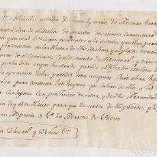 Manuscritos antiguos: RECIBO DEL ARRENDADOR DEL MOLINO DE SOREASU. AZPEITIA. 1800. GUIPÚZCOA. PAÍS VASCO.. Lote 211483115