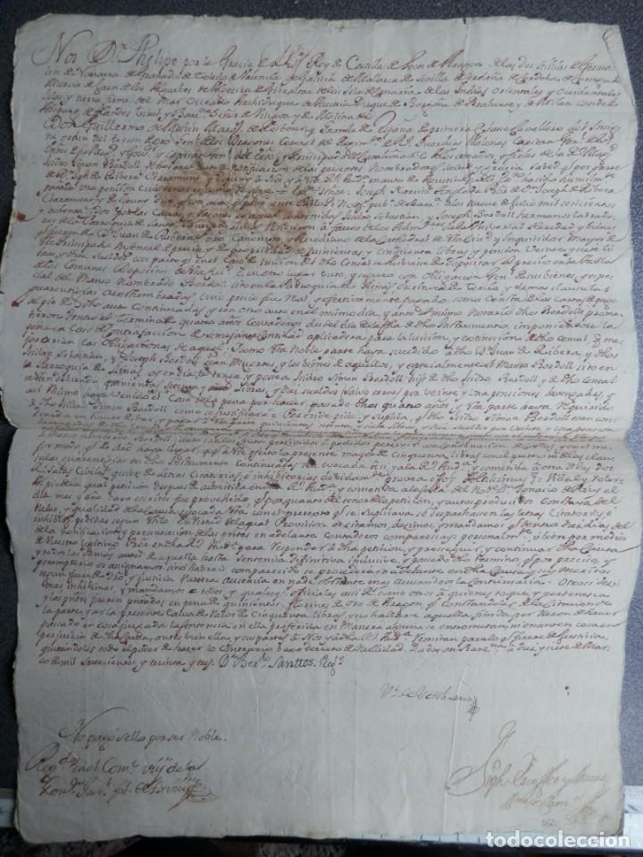 Manuscritos antiguos: SELLO REAL FELIPE V LACRE - FIRMADO REGENTE CATALUÑA PLEITO CENSAL EN CARDEDEU BARCELONA - AÑO 1733 - Foto 2 - 211516297