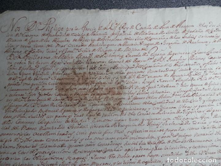 Manuscritos antiguos: SELLO REAL FELIPE V LACRE - FIRMADO REGENTE CATALUÑA PLEITO CENSAL EN CARDEDEU BARCELONA - AÑO 1733 - Foto 3 - 211516297