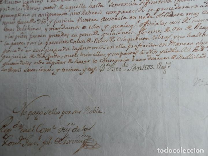 Manuscritos antiguos: SELLO REAL FELIPE V LACRE - FIRMADO REGENTE CATALUÑA PLEITO CENSAL EN CARDEDEU BARCELONA - AÑO 1733 - Foto 4 - 211516297