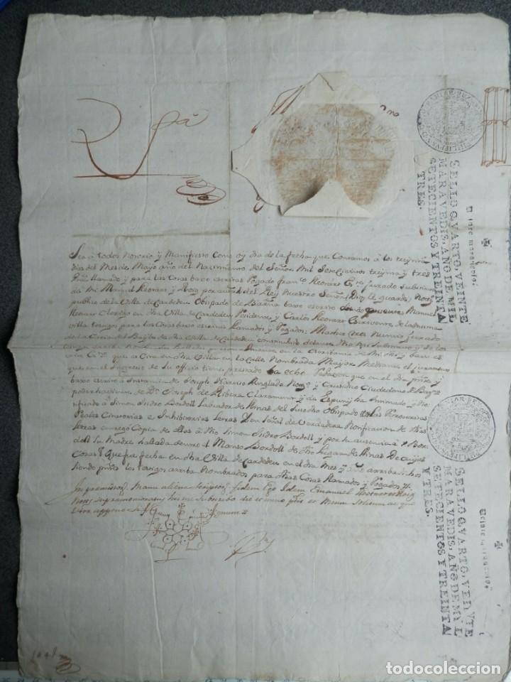 Manuscritos antiguos: SELLO REAL FELIPE V LACRE - FIRMADO REGENTE CATALUÑA PLEITO CENSAL EN CARDEDEU BARCELONA - AÑO 1733 - Foto 5 - 211516297
