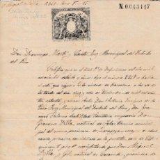 Manuscritos antiguos: 1885 BARCELONA FABAR (ZARAGOZA) CALACEITE (TERUEL) SELLO FISCAL 12º DE 75 CTS CERTIFICADO DEFUNCION. Lote 211725379