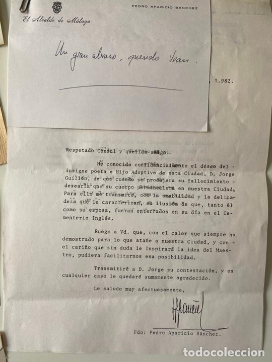 Manuscritos antiguos: lote de cartas , etc . de d. jorge guillen relacionados con malaga , generación del 27 , poesía - Foto 3 - 211747325