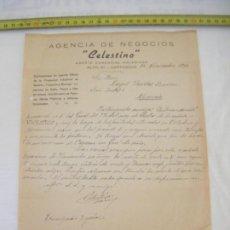 Manuscritos antiguos: JML CARTA DE AGENCIA NEGOCIOS CELESTINO POR TEMAS EN MINA VICENTICO MURCIA 1940. Lote 211967915