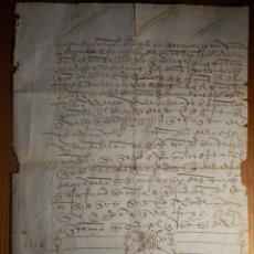 Manuscritos antigos: LEGAJO - AÑO 1518 - CON SIGNO NOTARIAL - NO LEGIBLE PARA MI - UNA PÁGINA - DOS CARAS. Lote 212771510
