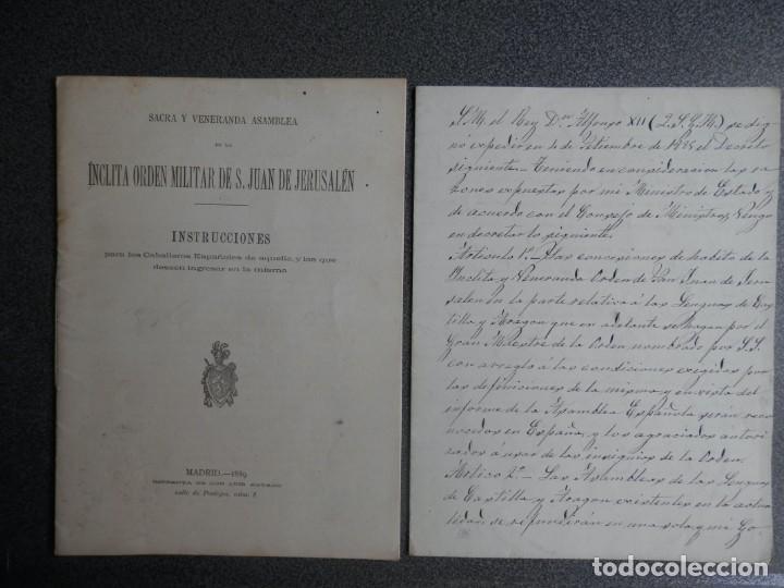 ORDEN MILITAR SAN JUAN DE JERUSALÉN AÑO 1889 INSTRUCCIONES IMPRESAS Y OTRAS MANUSCRITAS - RARO (Coleccionismo - Documentos - Manuscritos)