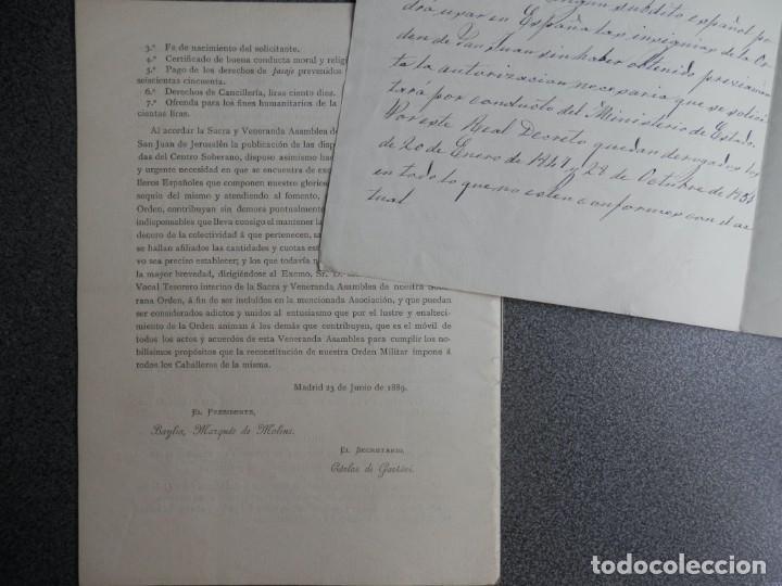 Manuscritos antiguos: ORDEN MILITAR SAN JUAN DE JERUSALÉN AÑO 1889 INSTRUCCIONES IMPRESAS Y OTRAS MANUSCRITAS - RARO - Foto 3 - 212923087