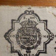 Manuscritos antiguos: TIMBROLOGIA - SELLO 4ª QUARTO 10 MARAVEDIS - FELIPE IV AÑO 1640 - CON SIGNO NOTARIAL. Lote 212926455