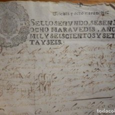 Manuscritos antiguos: TIMBROLOGIA - SELLO 2ª SEGVNDO 68 MARAVEDIS - CARLOS II AÑO 1676 - CON SIGNO NOTARIAL. Lote 212930458