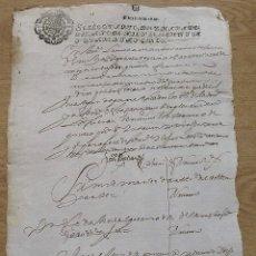 Manuscritos antiguos: SELLO QUARTO. DIEZ MARAVEDÍS. 1645. MANUSCRITO A PLUMA. 31X22 CM. BUEN ESTADO CON SIGNOS EDAD.. Lote 213003398