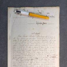 Manuscritos antiguos: CARLET - ALGINET, CRÓNICA DE INJURIAS ENTRE HERMANOS EN EL CAFÉ IMPERIAL DE ALGINET (A.1908). Lote 214444110